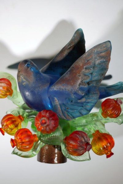 Nature of Antiquity Aqua Bird with Red Pomegranates