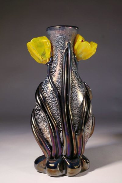 Iridescent Silver Leaf Amethyst With Yellow Tulips